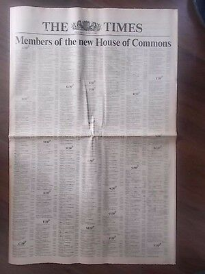 VINTAGE NEWSPAPER THE TIMES JUNE 11th 1983 ELECTION RESULTS SUPPLEMENT
