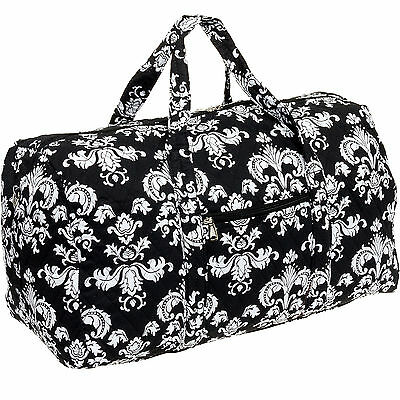 Silver Lilly Black/White Damask Weekender Quilted Carry On Overnight Duffel Bag