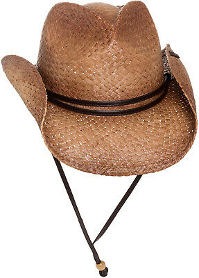fbb119917dd9dd PETER GRIMM NEW Mens Tea Stained Straw Round Up Cowboy Hat w/ Leather Chin  Strap