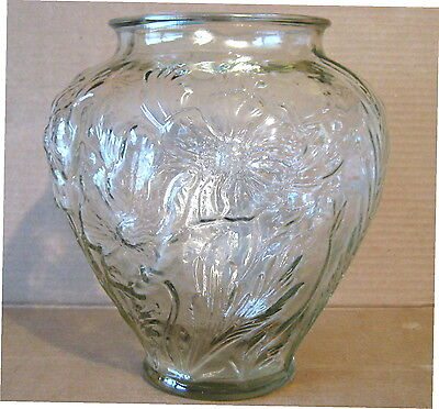 """Vintage TIFFIN GLASS CO. """"POPPIES"""" CLEAR GLASS VASE - 8 5/8"""" Tall"""