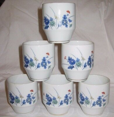Lovely Tea Cups - Set of Six - White with Floral Design - Japan(?)