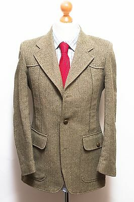 Gents Tweed Herringbone Safari Blazer Jacket By St Michael 38R