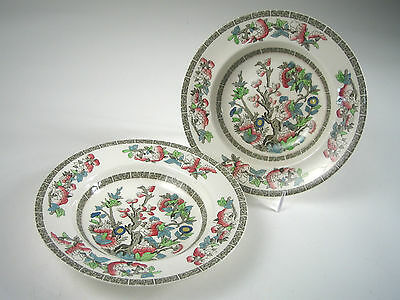 2 JOHNSON BROS 'INDIAN TREE' Hand Painted RIMMED SOUP BOWLS