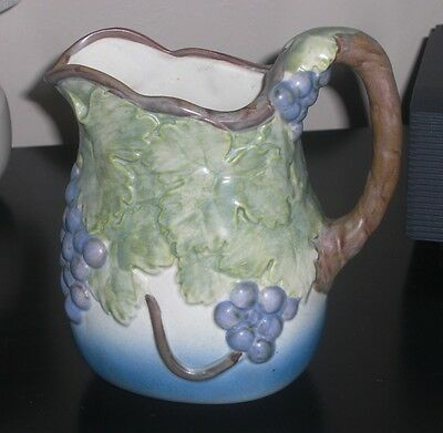 Antique Pitcher Raised Grapes & Leaves Design Porcelain? Very Old Beautiful