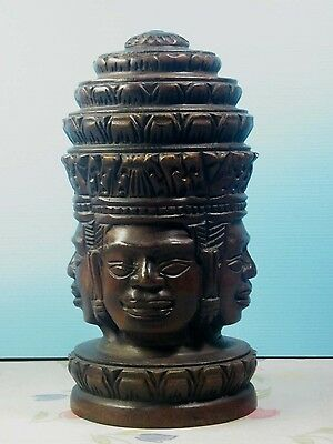 """10"""" Wooden Bayon Four Faces At Angkor Thom Figurine Statue Cambodia Khmer Style"""