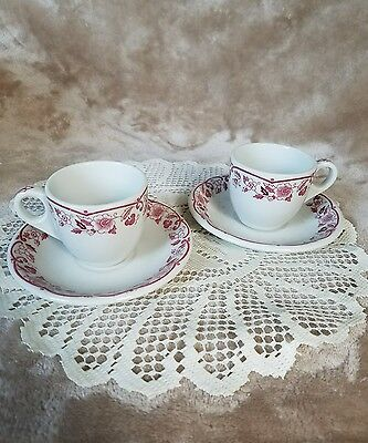 Two Shenango China Demitasse Cup and Saucer Lot Maroon & White Restaurant ware