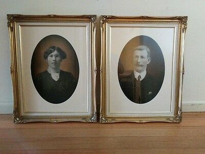 c 1900 Pair of hand touched framed portrait photos - reframed in gilt decorative
