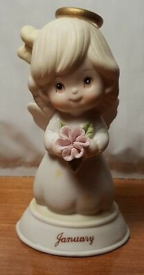 LEFTON January  Birthday Angel Girl Bell  # 03259 Vintage Figurine EXCELLENT