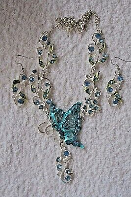 jewelry set turquoise crystal butterfly necklace earrings Silver tone set