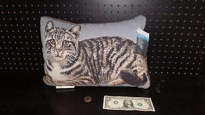 Grey Tabby Cat Tapestry Pillow by Linda Pickens