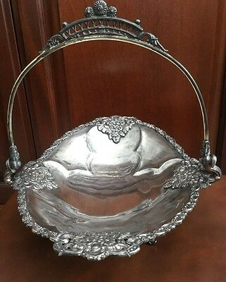 "Victorian Quadruple Silver Plate Footed ""bride's Basket"" 8 1/2"" X 11"""