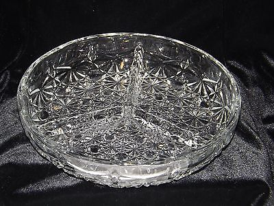 """Indiana Glass Daisy Button 3-part Relish dish Clear Glass 7 1/2 """" Vintage"""