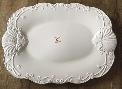 """Ceriart Pottery White Large Handmade Tray Platter Portugal 19.5""""x14"""""""