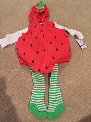 Carters 6/9 Months Strawberry Halloween Costume Baby Girl Outfit New Tights 3pc