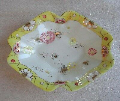 Vintage Satsuma Asian Japanese Hand Painted Gold Flower Bowl Dish Signed
