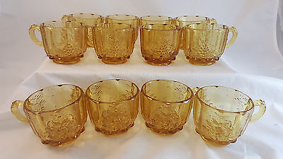 L.G. WRIGHT PANELED GRAPE Amber Set of 12 Punchbowl Cups