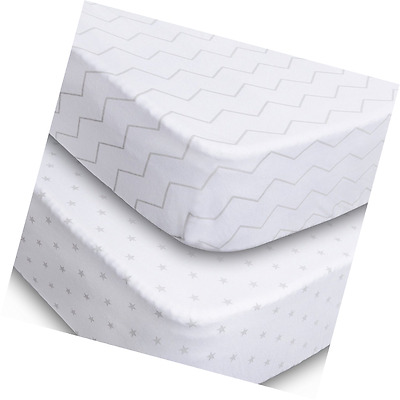 Crib Sheets, 2 Pack Fitted Soft Jersey Cotton Sheet, Bedding with Unisex Chevron