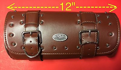 "INDIAN MOTORCYCLE BRN PU LEATHER FORK TOOL BAG ~ 12""x5"" ~ OVAL CONCHO  PRISTINE!"