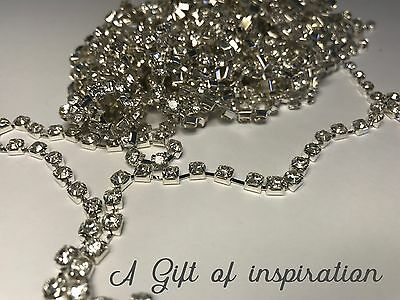 1 Metre Silver Clear Crystal Rhinestone Encased in Silver Metal Chain Trim 3mm