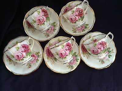 Royal Albert American Beauty 5 Cup And Saucers England Beautiful