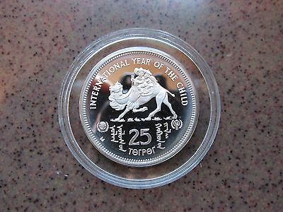 """""""International Year of the Child"""" Mongolia Silver Proof 25 Tikhrik Coin"""