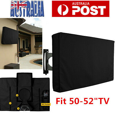 """50"""" - 52"""" Inch Waterproof TV Cover Outdoor Patio Flat Television Protector Black"""