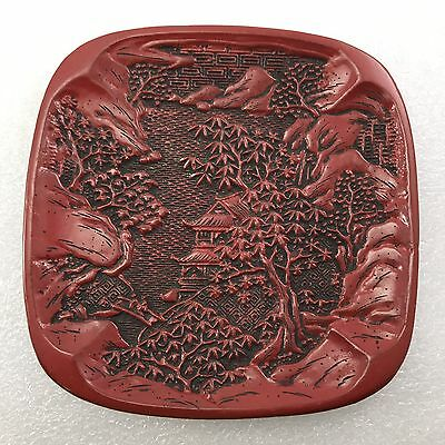 B47 Lot 3 Antique  Asian  Chinese Craved Red  CINNABAR  LACQUER  Plate
