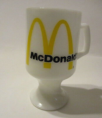 Vintage McDonald's Pedestal Footed Mug Coffee Cup White Milk Glass Golden Arches