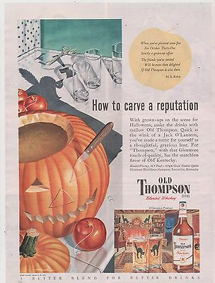 Old Thompson Whiskey - Pumpkin & Bllack Cats  -  Ad from Magazine