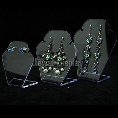 Set Of 3 Clear Acrylic Easel Jewelry Necklace Retail Display Stand CL38