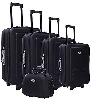 MEGA SALE NEW Black Luggage Set - 5 Piece Bags Suitcase Trolley Travel Bag