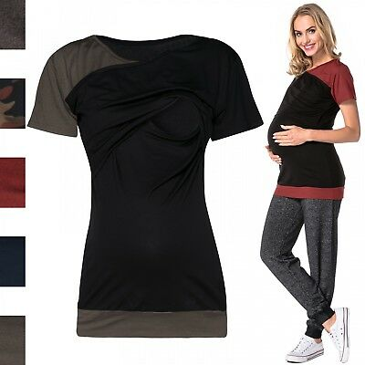 Happy Mama. Women's Maternity Nursing Double Layer T-shirt Contrast Detail. 011p