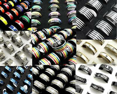 500x Mix lot of Stainless Steel Rings Men Women Fashion Rings Wholesale Jewelry