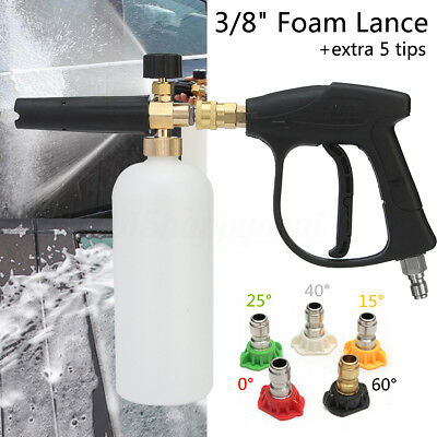 High Pressure Washer Gun 3/8'' Foam Lance Cannon + 5 Spray Tip Car Clean