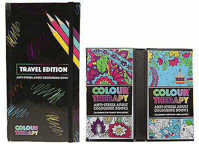Travel Size Colour Therapy Anti-Stress Adult Colouring Set - 2 Colouring Books