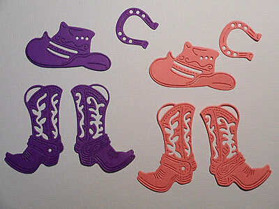 Cowgirl Boots Hat Paper Die Cuts x 2 Sets Scrapbooking Embellishment - Not a Die