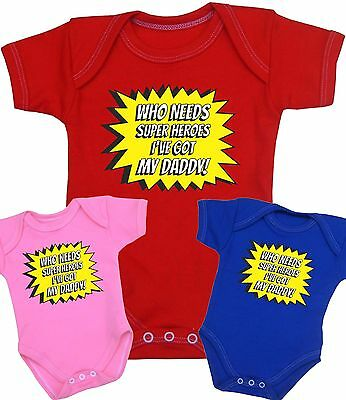BabyPrem Baby Clothes Daddy is my SUPERHERO Bodysuit Vest One-Piece 0 - 12 month