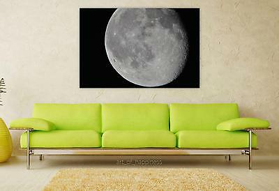 Stunning Poster Wall Art Decor Moon Night Craters 36x24 Inches