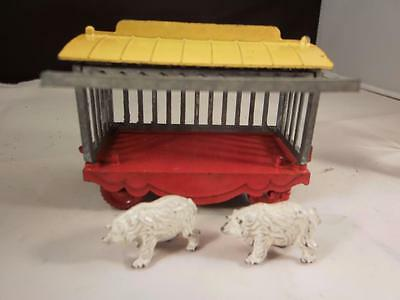VINTAGE PRE-WAR LEAD CHARBENS Circus Range Travelling Zoo Set Cage & Polar Bear