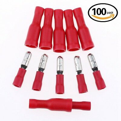 100x Red Fully Insulated Spade Electrical Crimp Connectors- Mixed Male & Female