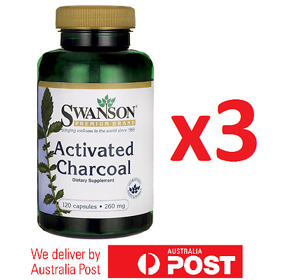 3x ACTIVATED CHARCOAL 250mg 360 Capsules by Swanson - Digestive, Detox, Cleanse