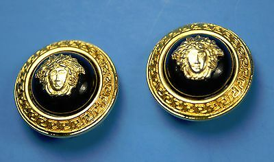 early Gianni Versace gold and black earrings signed by designer