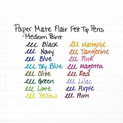 Paper Mate Flair Felt Tip Pens, Medium Point, Black, 12-Count