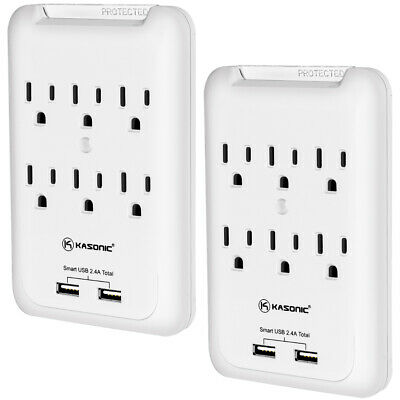 Power Outlet Wall-Mount, Kasonic 6 AC Socket Surge Protector with USB Charging