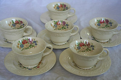 "Homer Laughlin Eggshell Theme Usa ""hlcth11""(6)Cup And Saucer Sets Beautiful!"
