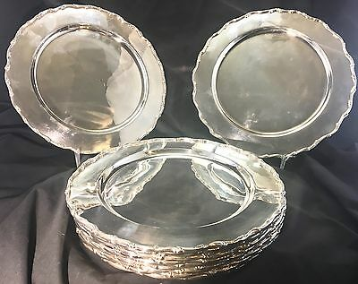 12 Vintage Tane Mexico Sterling Silver Chargers Raised Scrolled Rim 6400 Grams