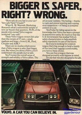 1978 Volvo station wagon vintage car photo print Bigger is Safer Right? ad