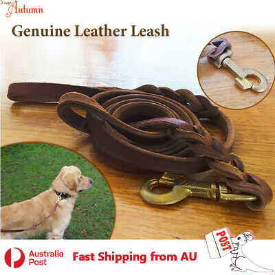 Premium Genuine Leather Dog Leash Lead Pet Real Training Heavy Duty Strong Clip