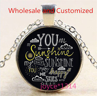 You Are My Sunshine Cabochon Tibetan silver Glass Chain Pendant Necklace #3469