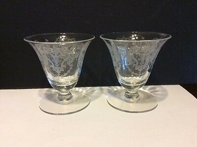 "Morgantown Virginia Optic Urn Crystal 3 3/8"" Oyster Glass Lot Of 2"